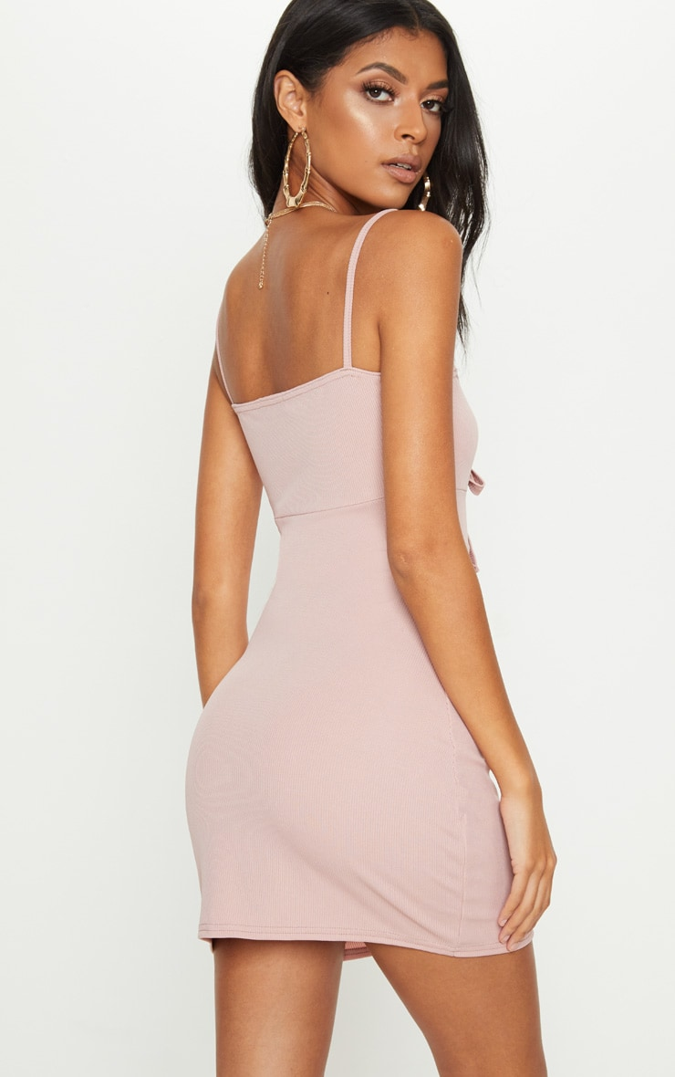 Dusty Pink Ribbed Tie Front Button Down Dress 2