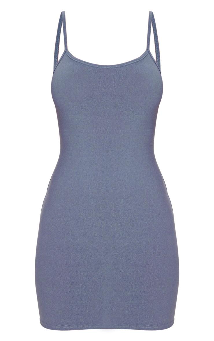 Grey Strappy Straight Neck Bodycon Dress 5