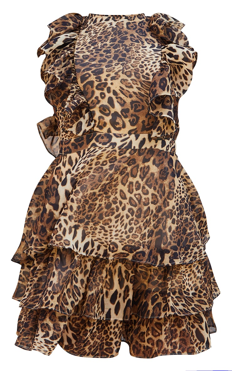 Tan Leopard Print Chiffon Open Back Tiered Skater Dress 5