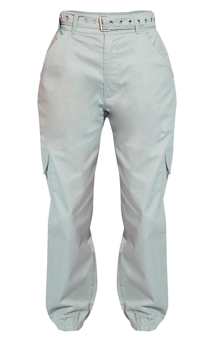 Sage Eyelet Detail Belted Cargo Pants 5