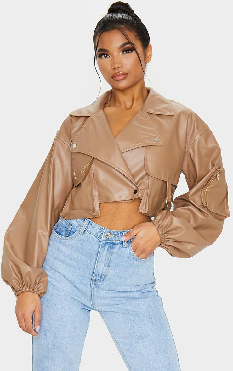 Tan Faux Leather Crop Biker Jacket 3