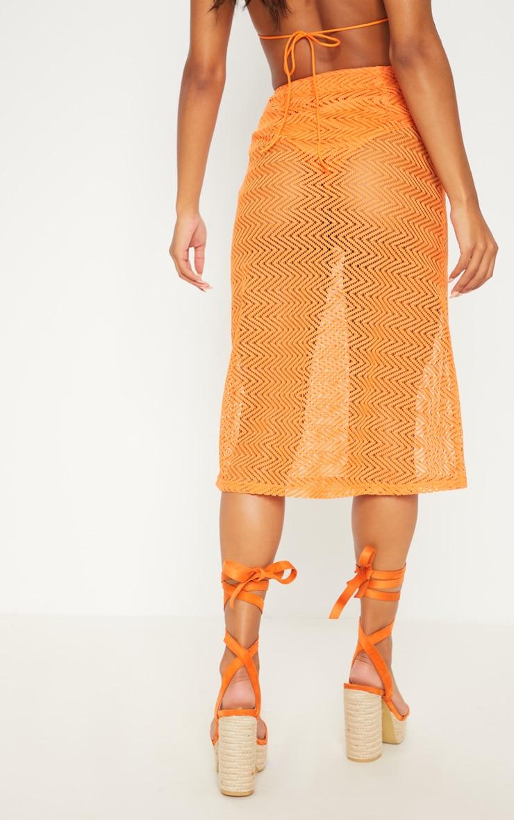 Orange Crochet Button Front Midi Skirt 4