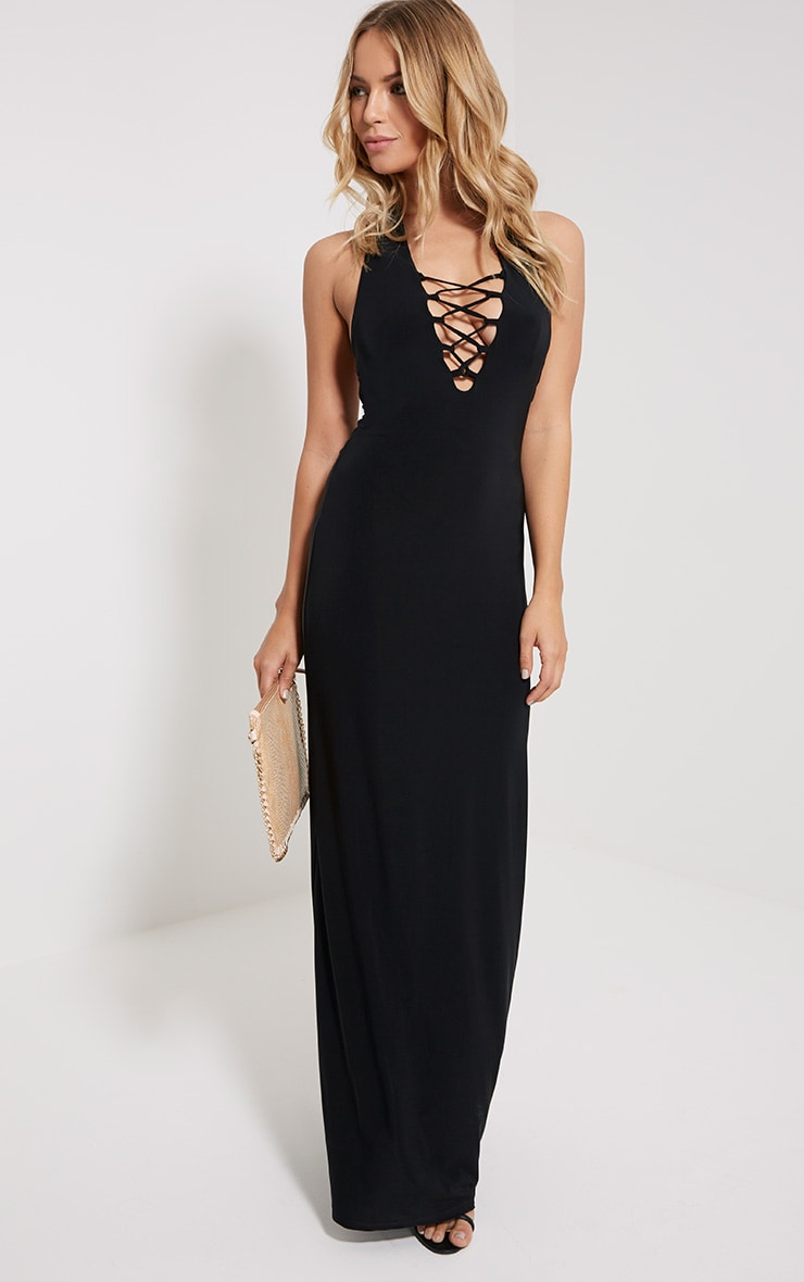 Emiliano Black Lace Front Maxi Dress 4