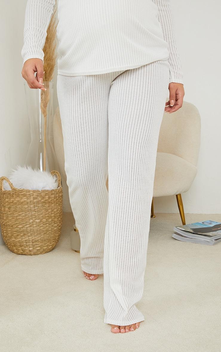Maternity White Pointelle Wide Leg Pants 2