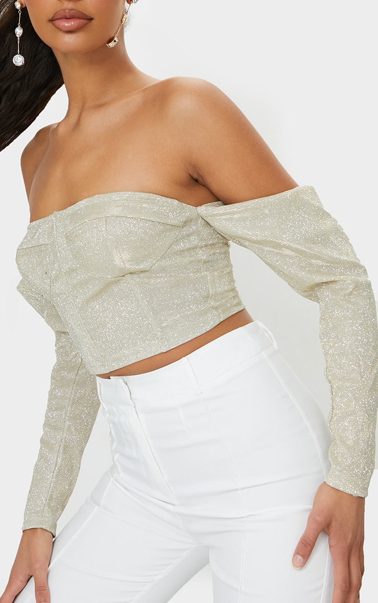 Gold Textured Glitter Bardot Puff Sleeve Crop Top 4