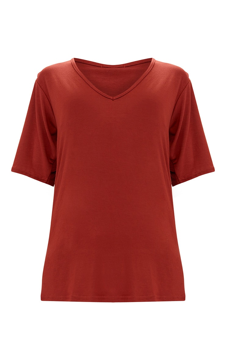 Burnt Orange Basic V Neck T Shirt 3