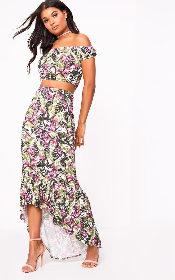 Pink Palm Print Hi Lo Hem Maxi Skirt 1