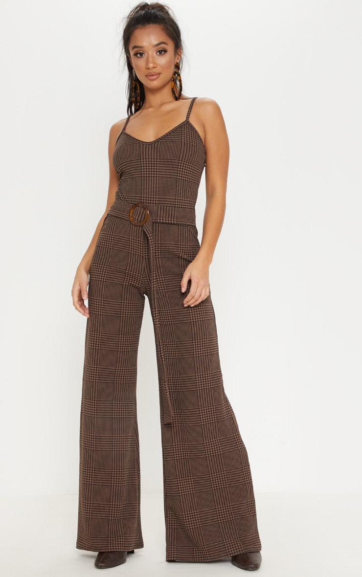 Petite Brown Checked Tortoise Belt Wide Leg Jumpsuit 1