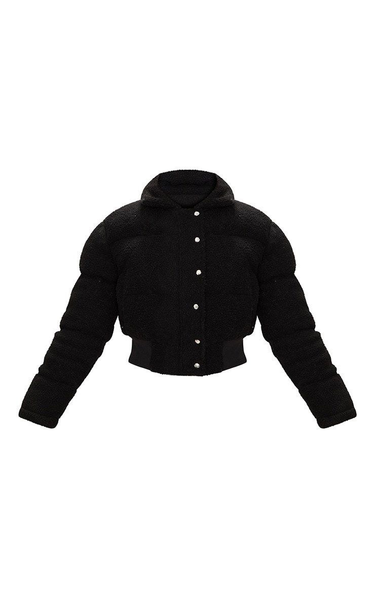 Black Borg Bubble Cropped Bomber Jacket 3