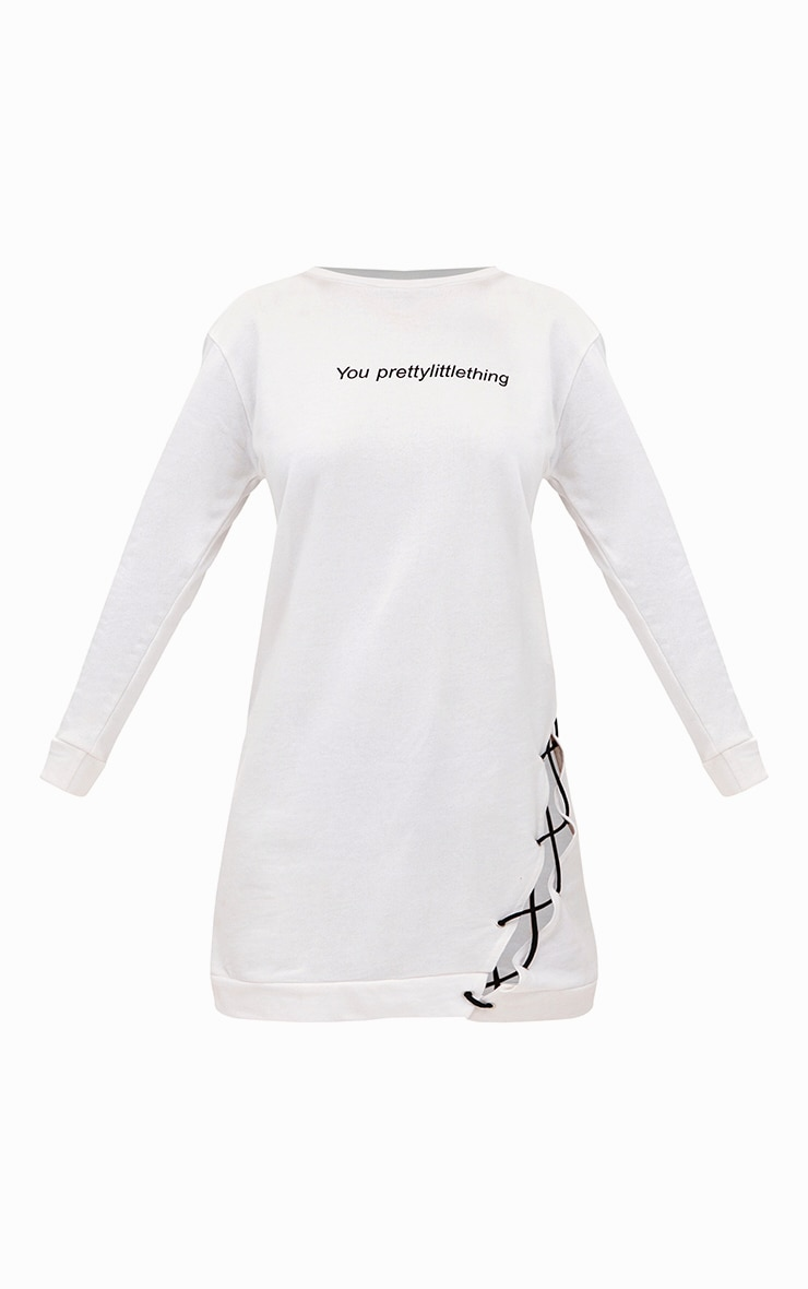 PRETTYLITTLETHING White Lace Up Sweater Dress 3