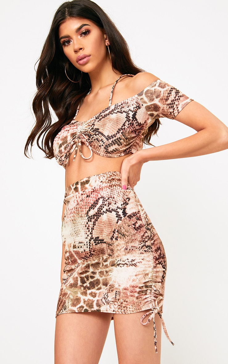 Brown Snake Print Crepe Ruched Bardot Crop Top  1