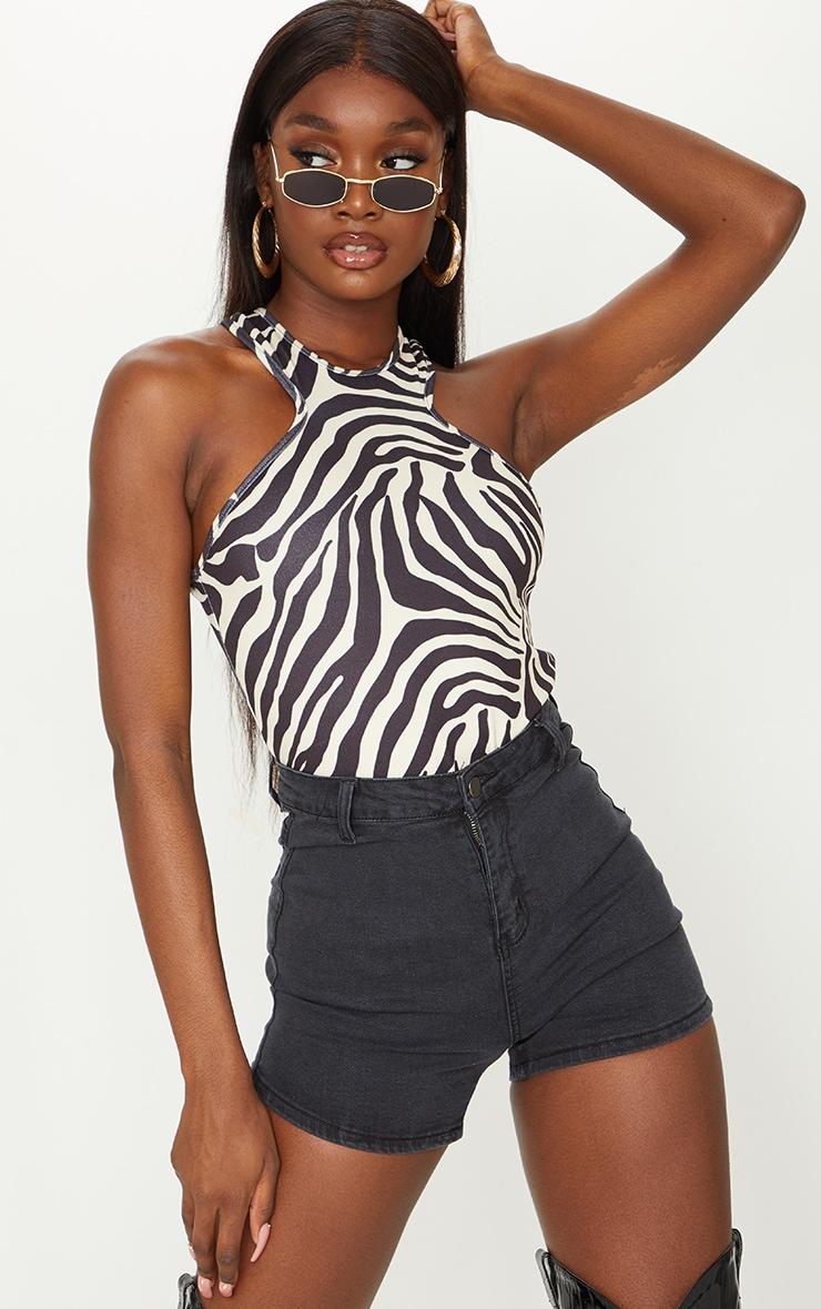 Tall Black Washed Black Denim Disco Shorts 1