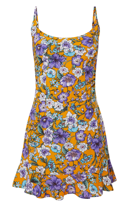 Mustard Floral Frill Hem Dress 3