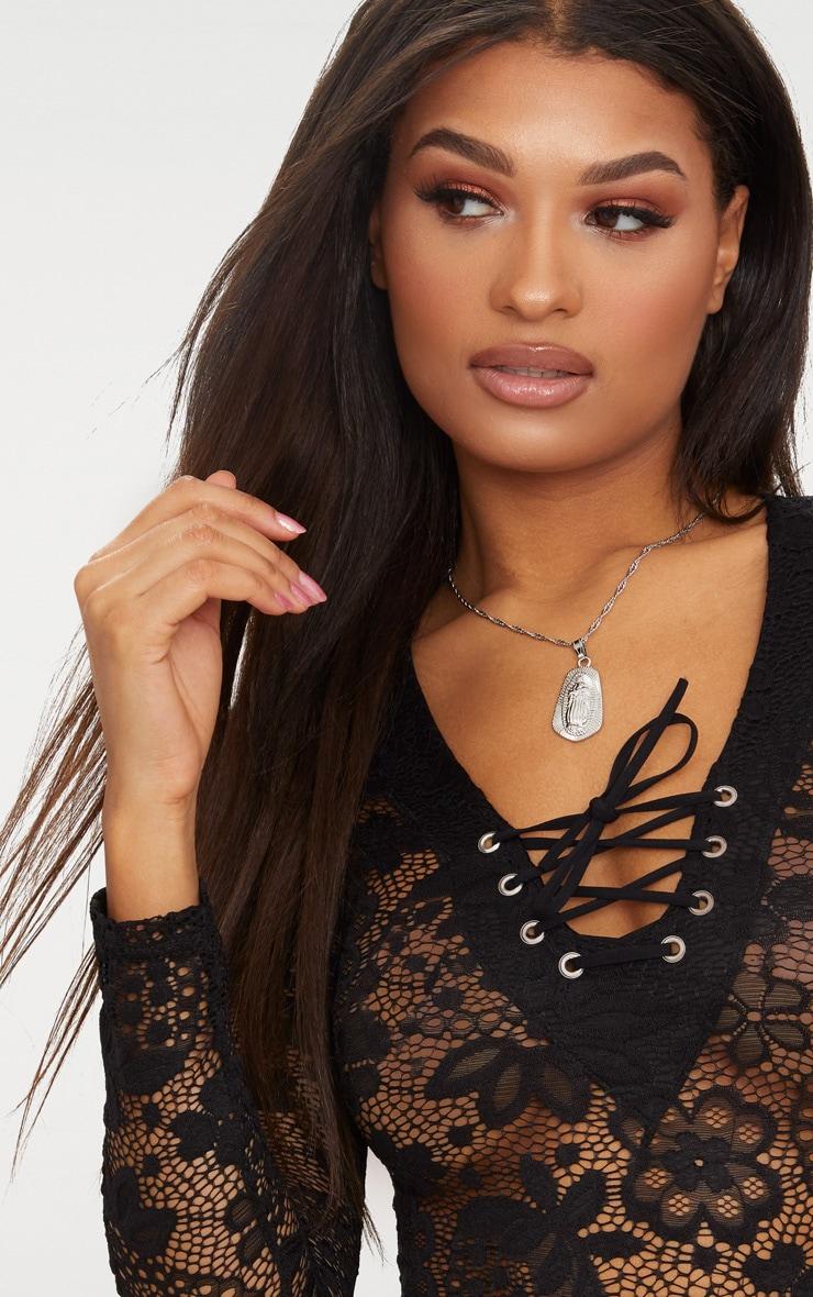 Black Lace Up Detail Lace Thong Bodysuit 6