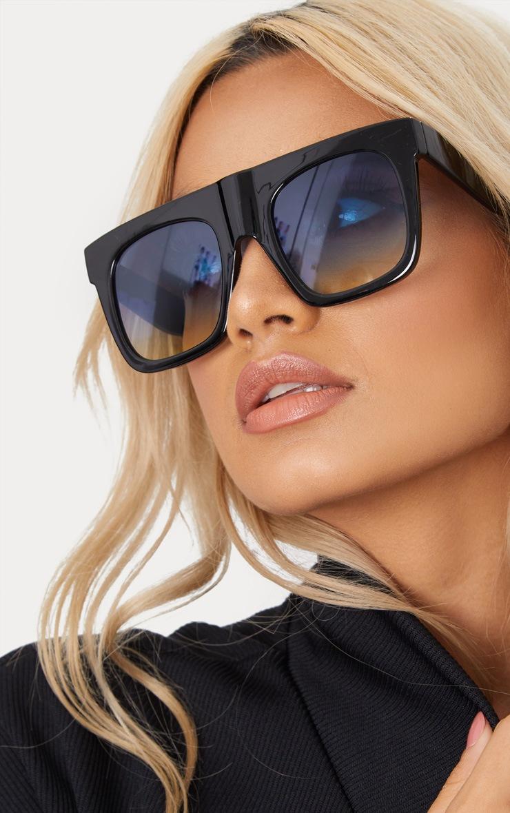 Black Wide Frame Square Sunglasses 5
