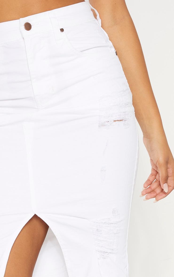 Tall - Jupe mi-longue en jean déchiré blanc 6