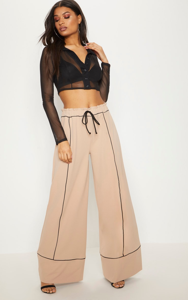 Stone Contrast Binding Ruched Waist Wide Leg Trouser 1