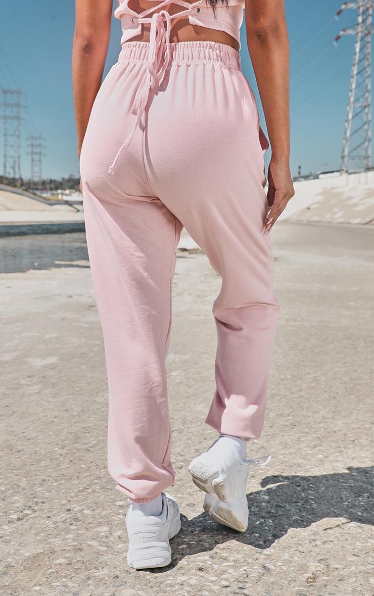 PRETTYLITTLETHING Baby Pink Slogan Side Sweatpants 3