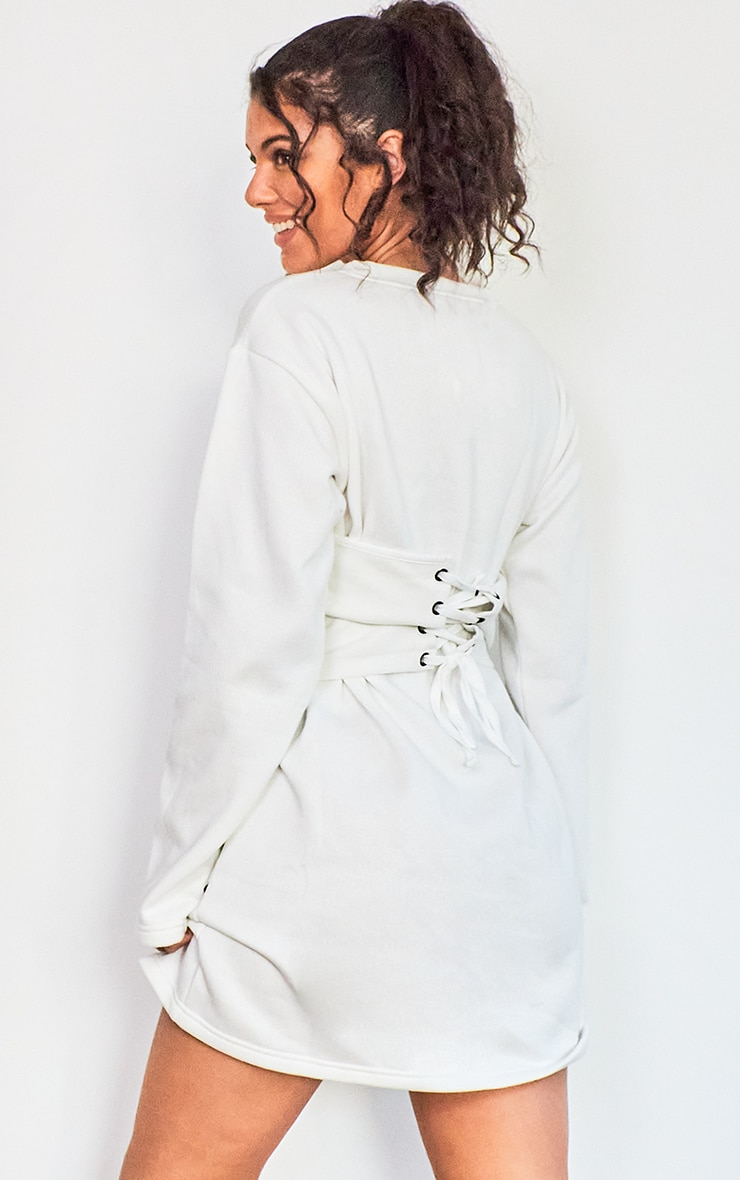 Cream Rib Corset Detail Sweat Jumper Dress 2