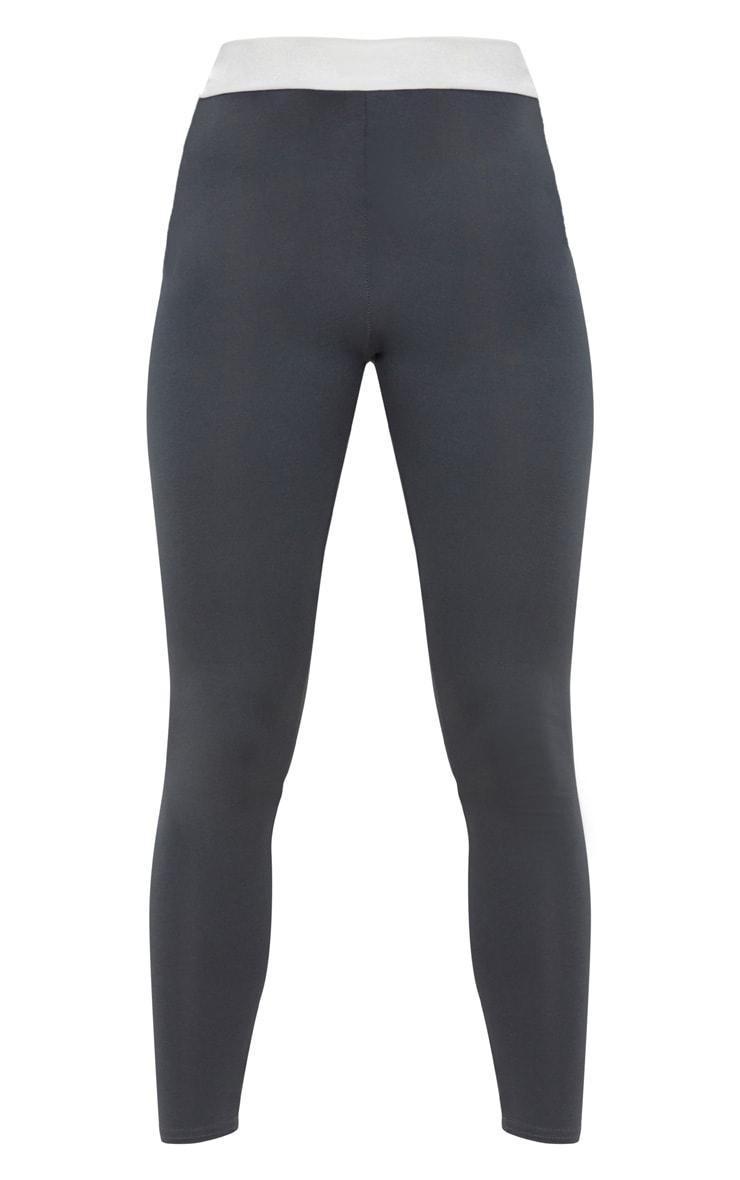 Legging gris anthracite à bande contraste à la taille 3