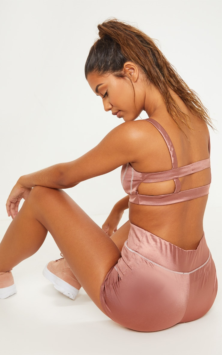 Copper Contrast Stitch Sports Bralet 2