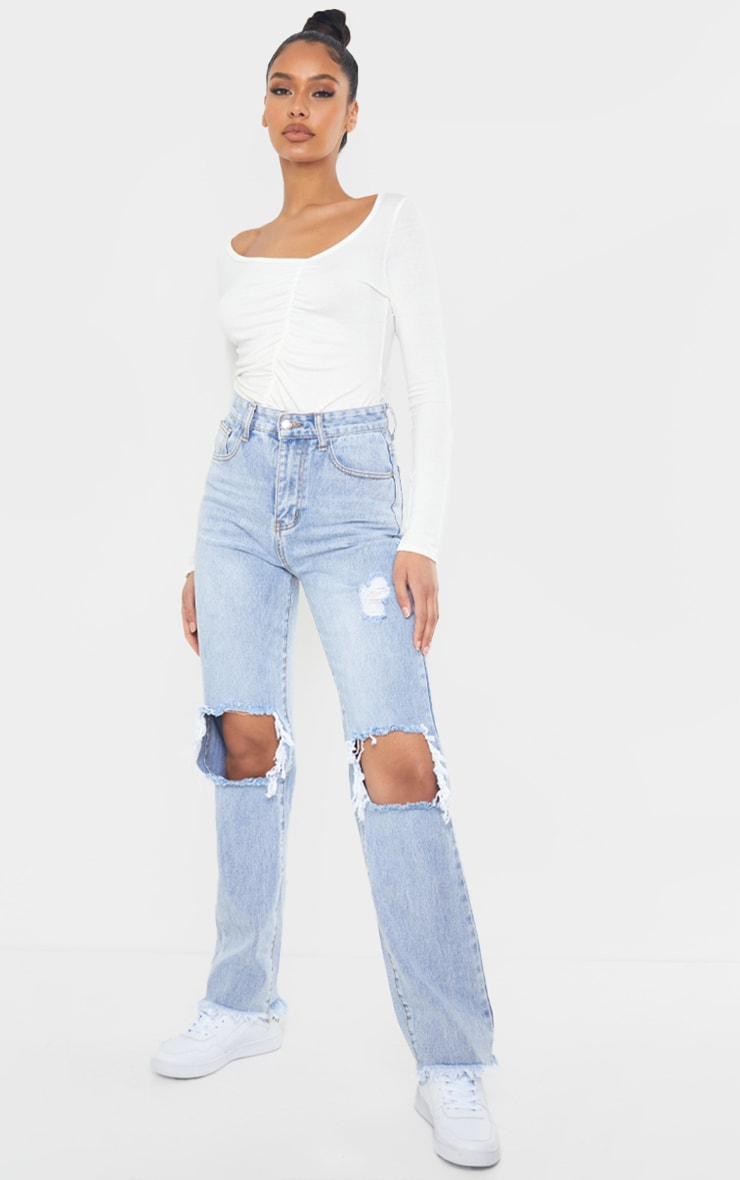 Cream Jersey Ruched Asymmetric Long Sleeve Bodysuit 3