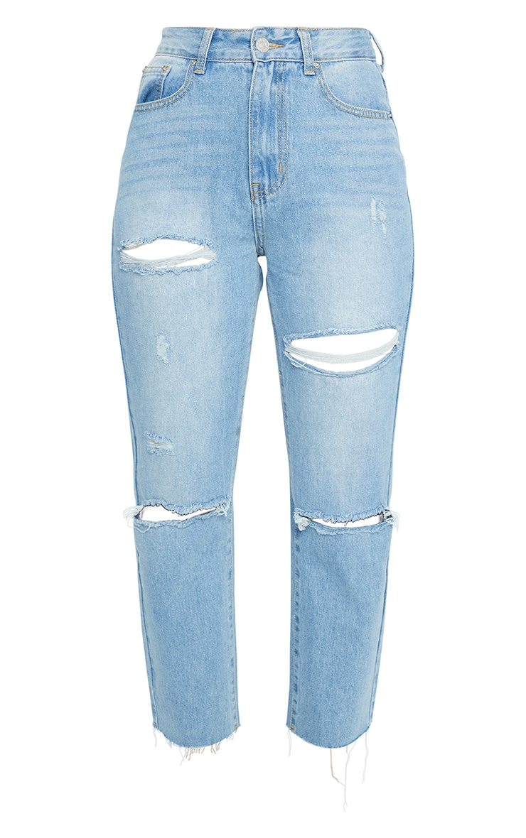 Light Wash Cropped Straight Leg Jean 5