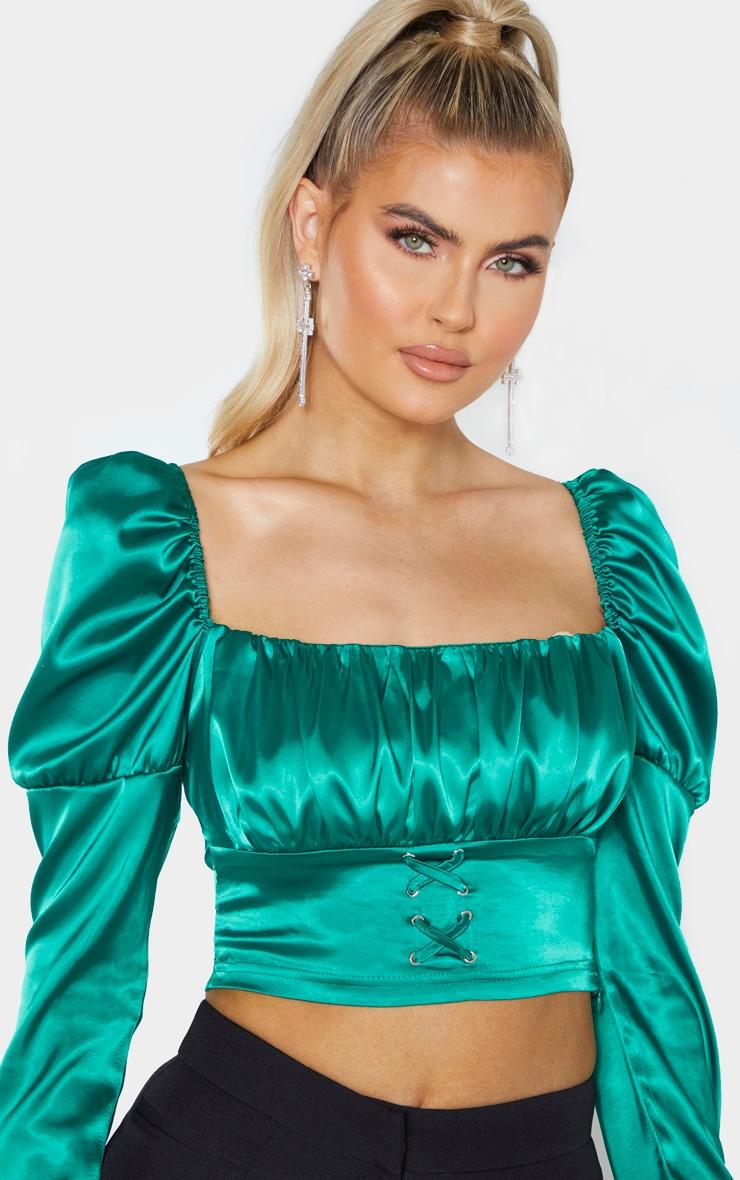 Tall - Crop top style corset satiné vert émeraude à manches longues 5