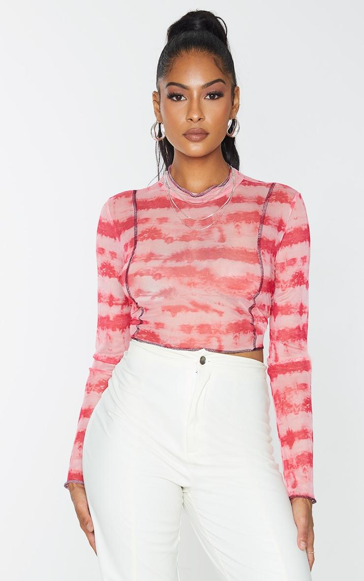 Pink Contrast Seam Tie Dye Print Mesh Long Sleeve Top 3