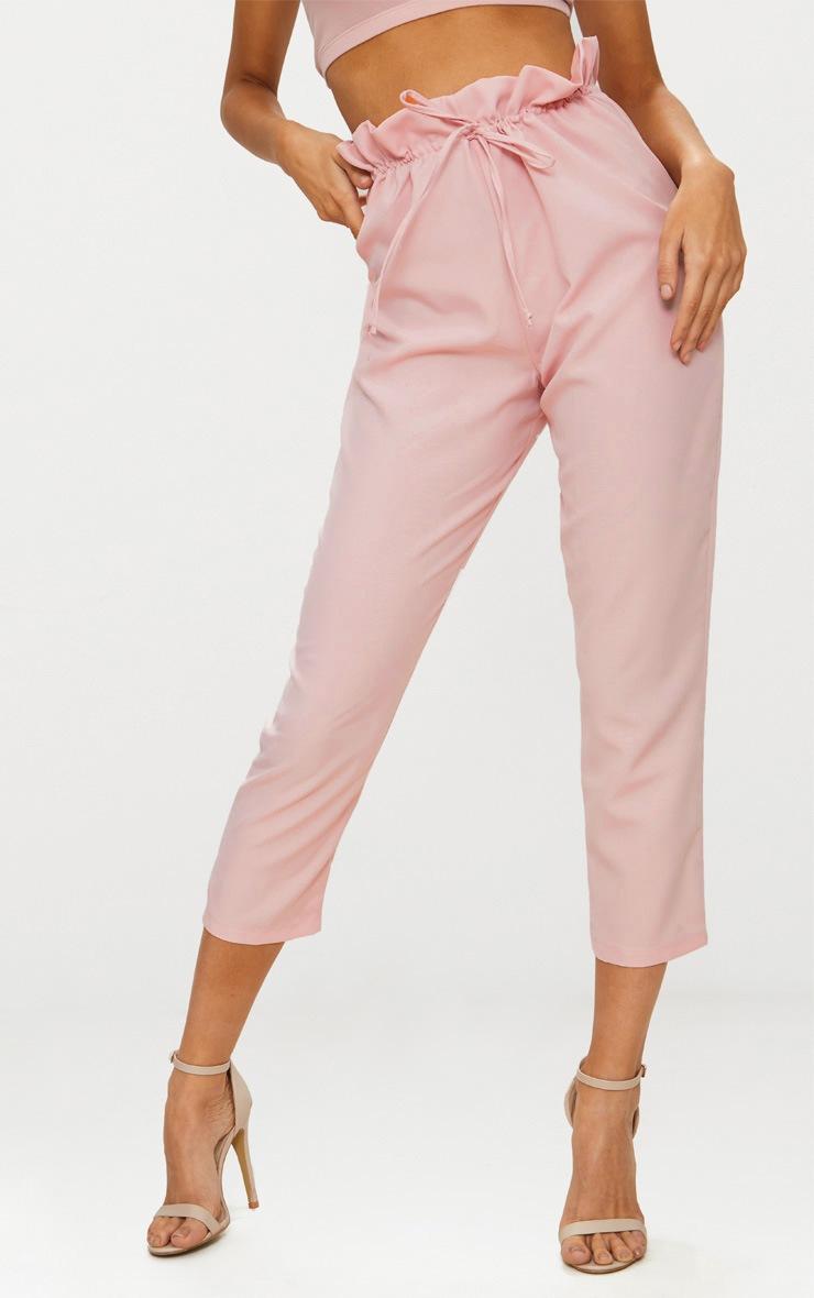 Blush Woven Paperbag Slim Leg Pants 2