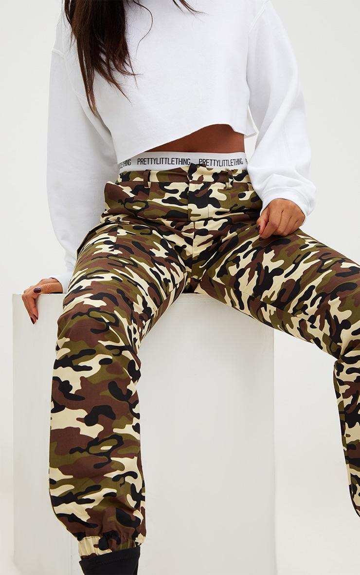Stone Camo Print Cargo Trousers 5