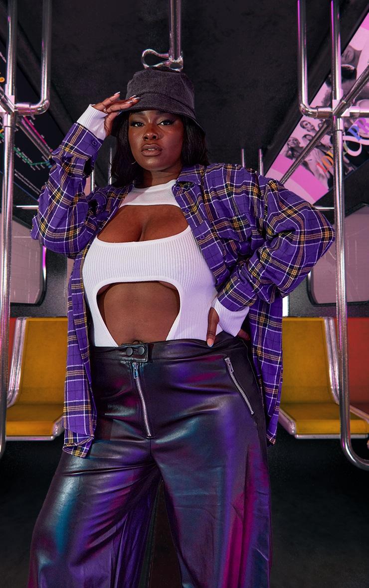 Plus Purple Unisex Check Flannel Oversized Shirt 5