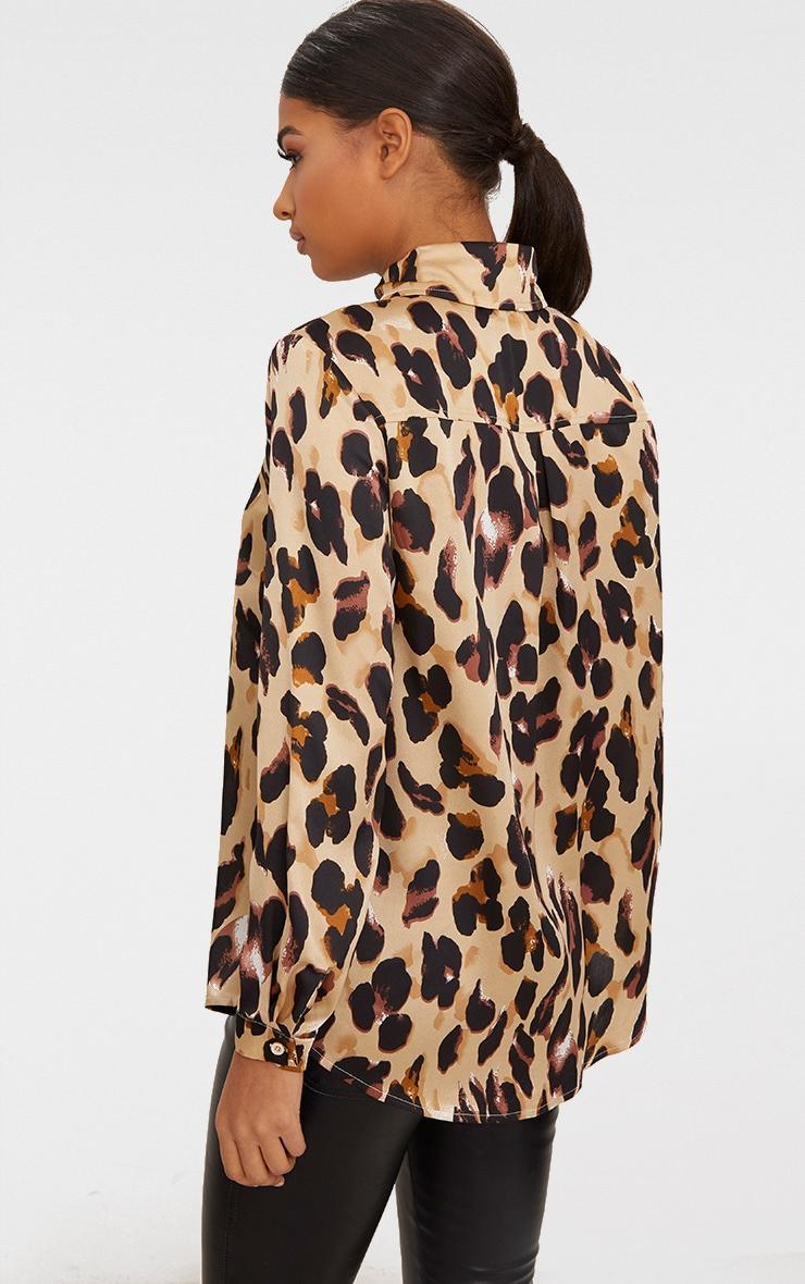 Tan Leopard Print Satin Oversized Shirt 2