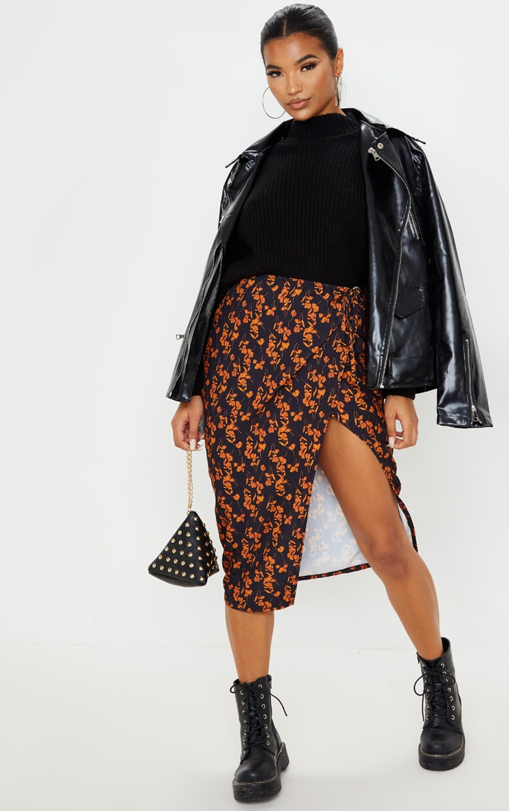 Black Floral Print Wrap Midi Skirt 1