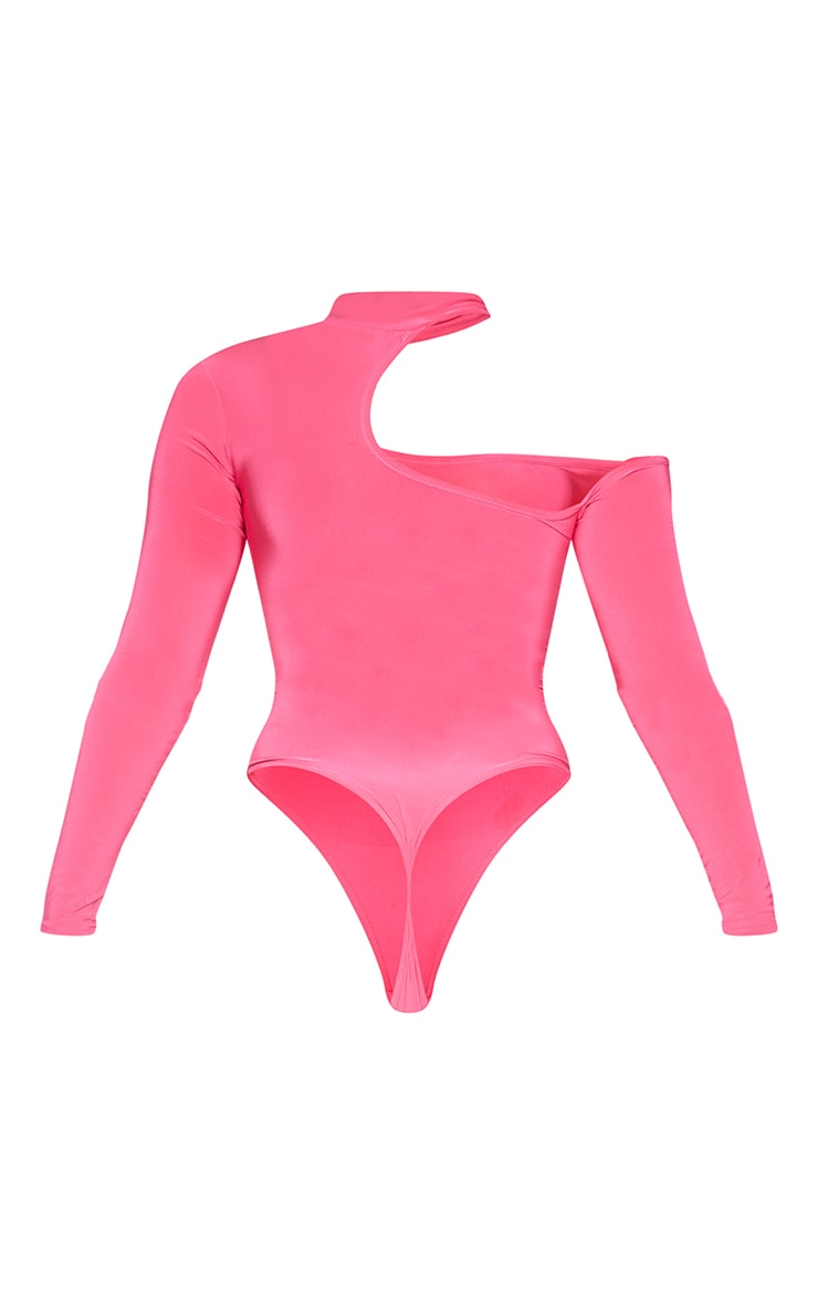Hot Pink Slinky High Neck Cut Out Long Sleeve Bodysuit 6