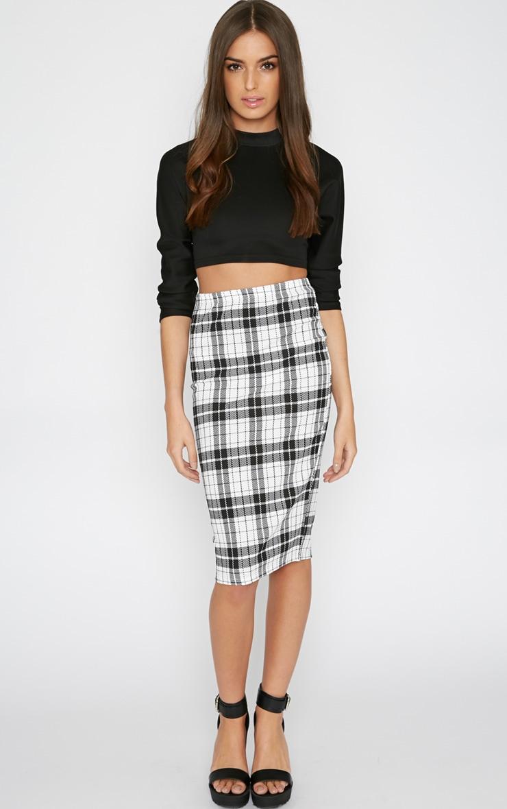 Nia Monochrome Check Midi Skirt  6