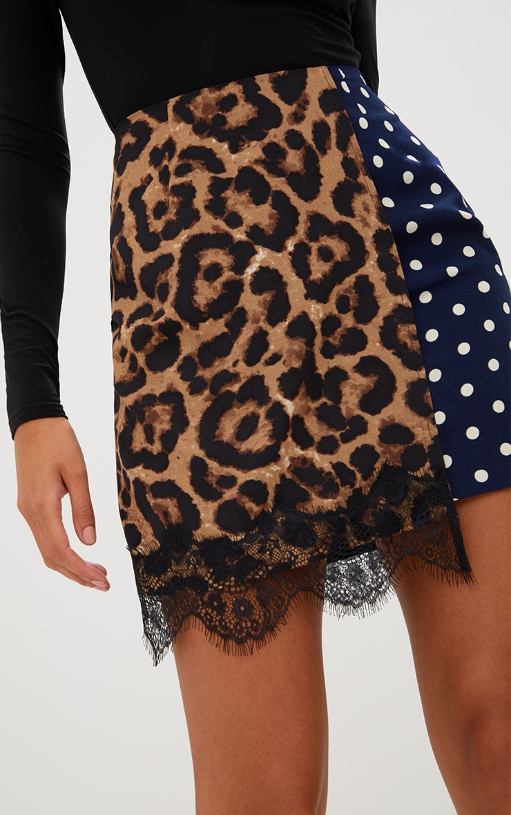 Navy Mix Print Lace Trim Mini Skirt 6
