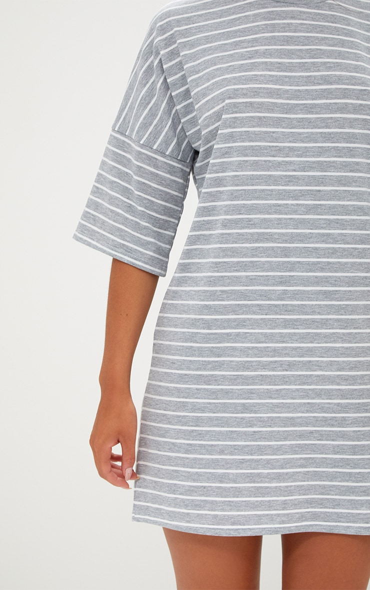 Grey Striped Oversized T Shirt Dress 5