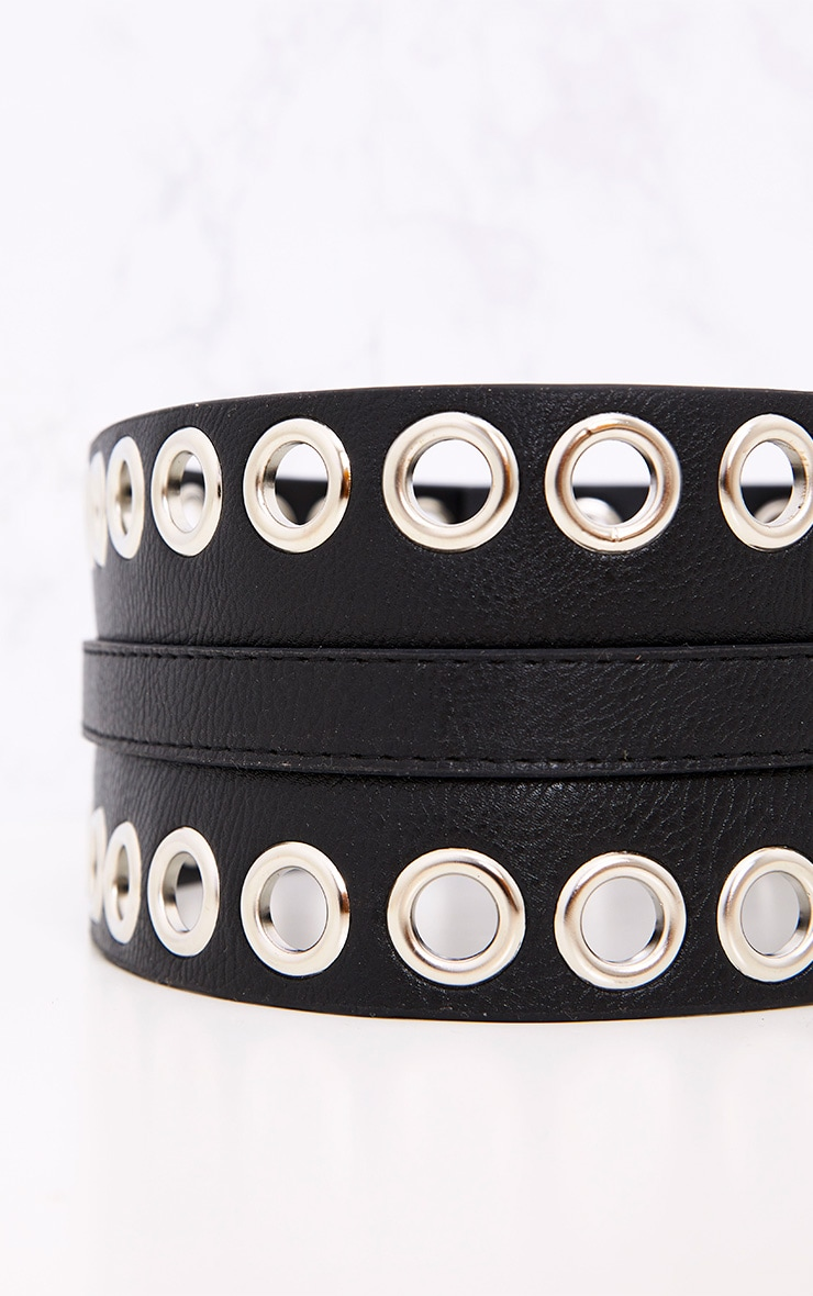 Black Double Eyelet Row Belt 6