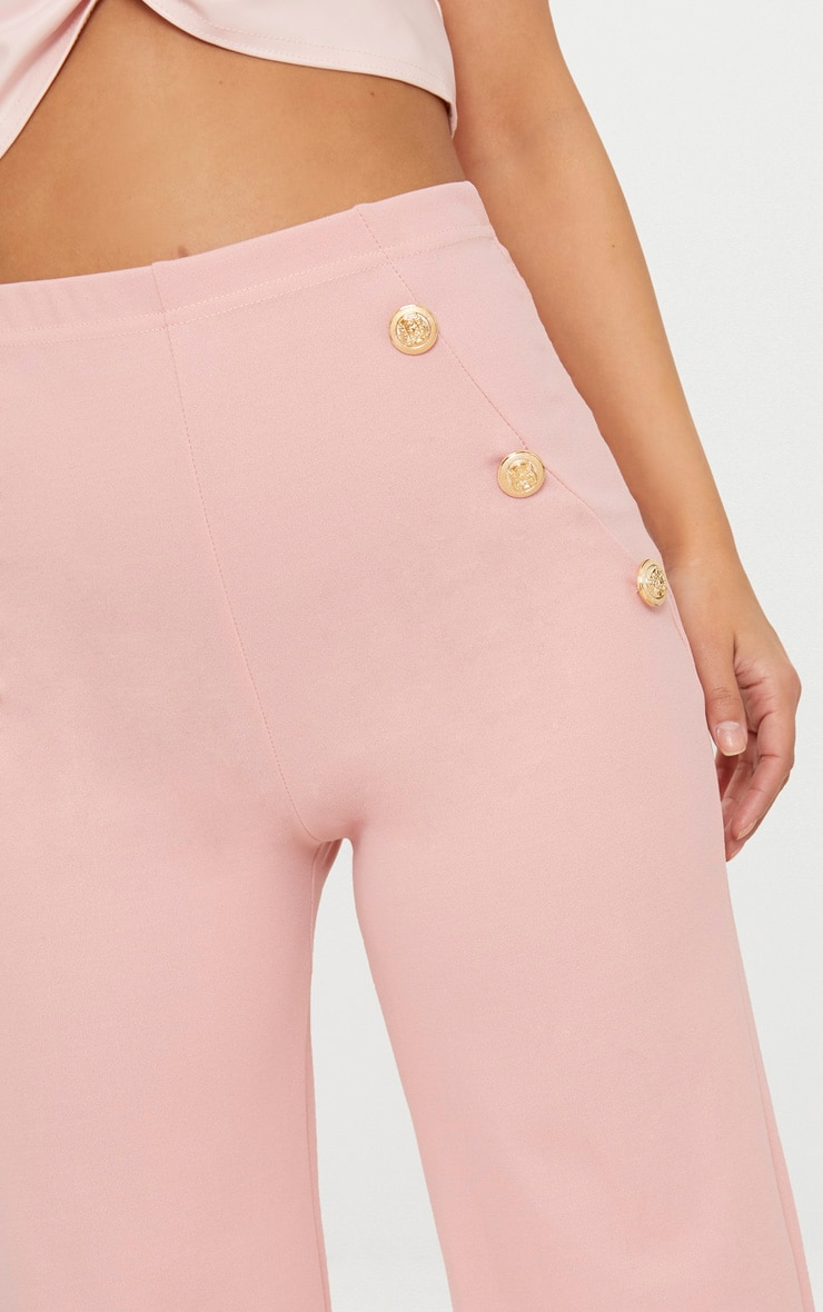 Petite Dusty Pink Military Button Wide Leg Trousers 4