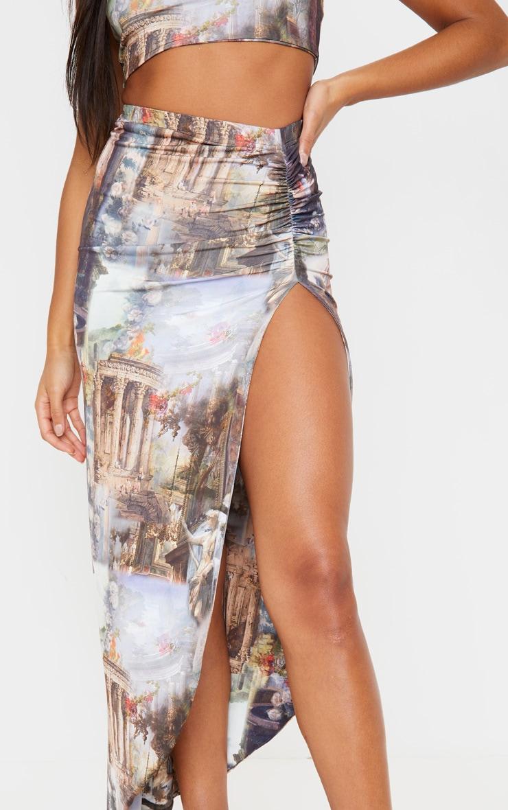 Multi Renaissance Ruched Side Split Midaxi Skirt 5