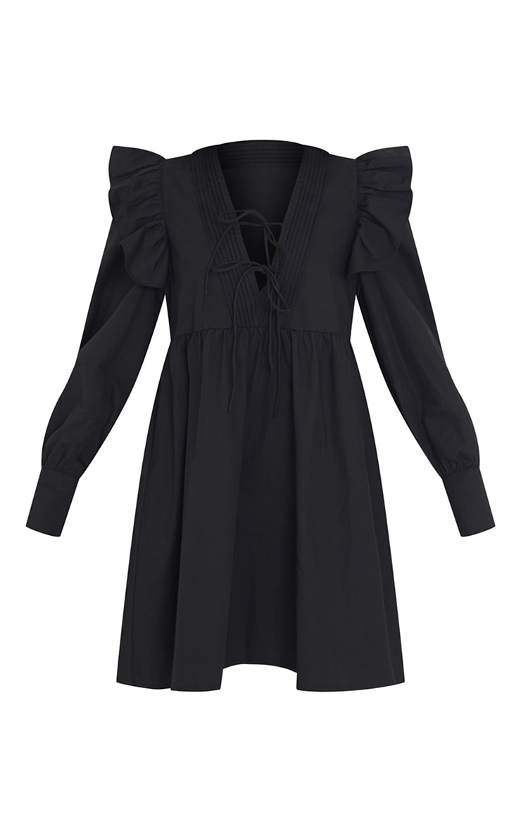 Black Woven Frill Sleeve Pleated Detail Shirt Dress 5