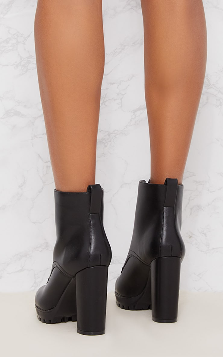 Black Platform Cleated Zip Front Ankle Boot 4