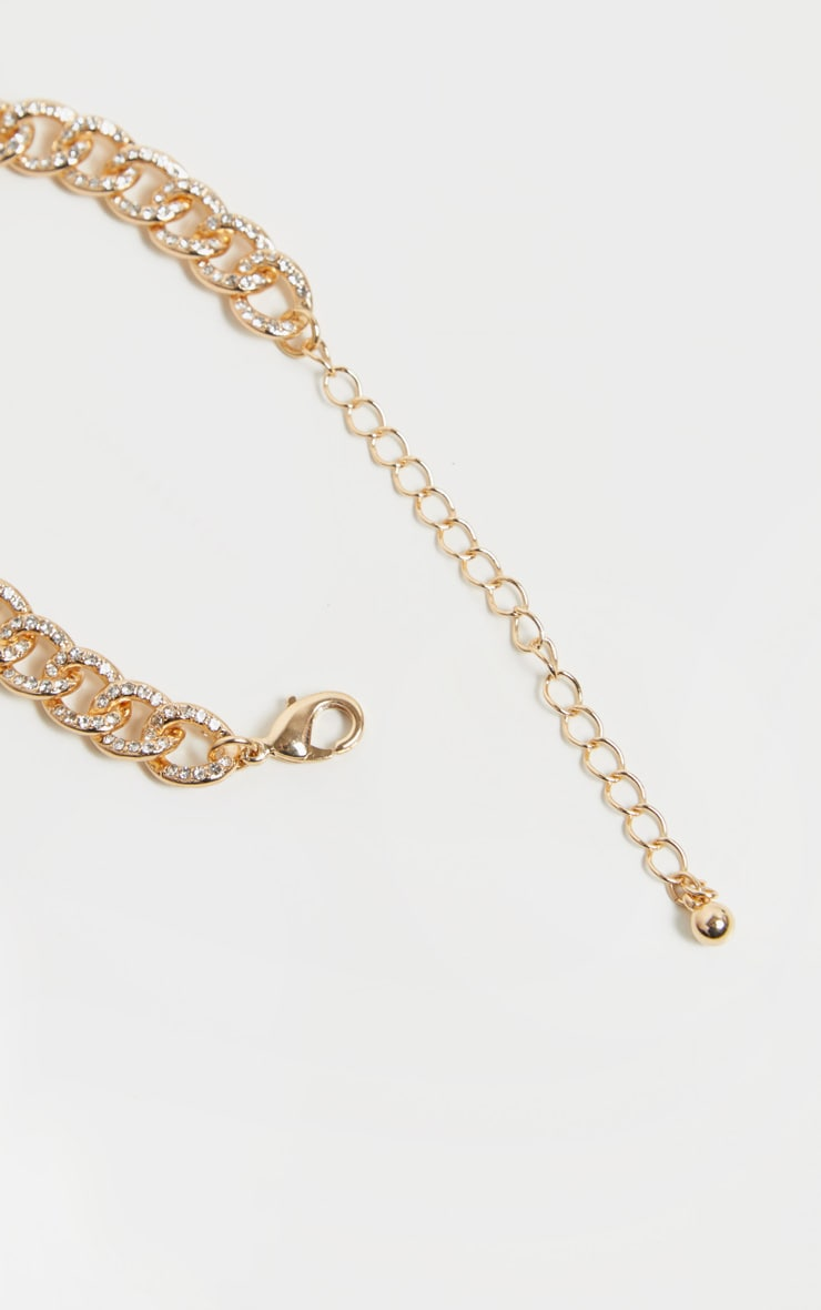 Gold Diamante Link Chain Anklet 4