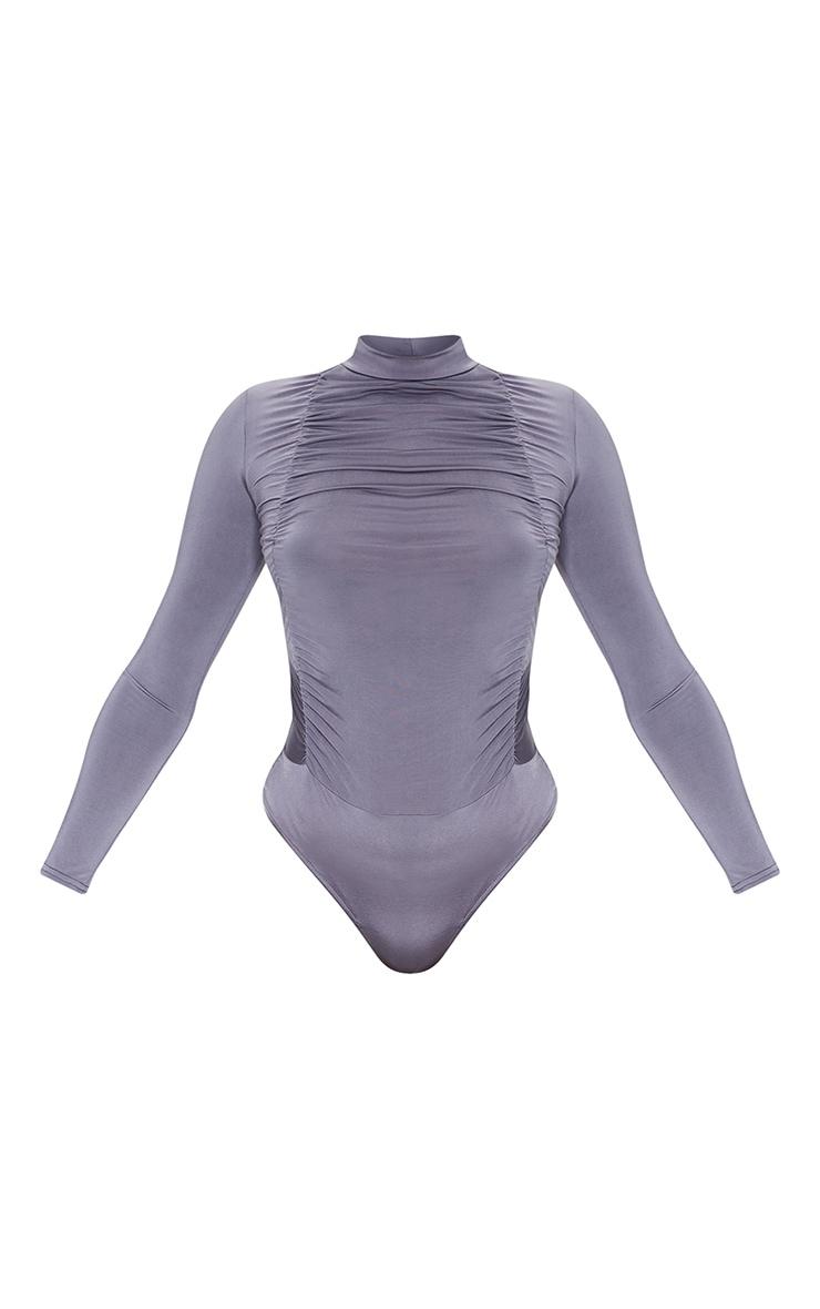 Charcoal Jersey Draped High Neck Bodysuit 5