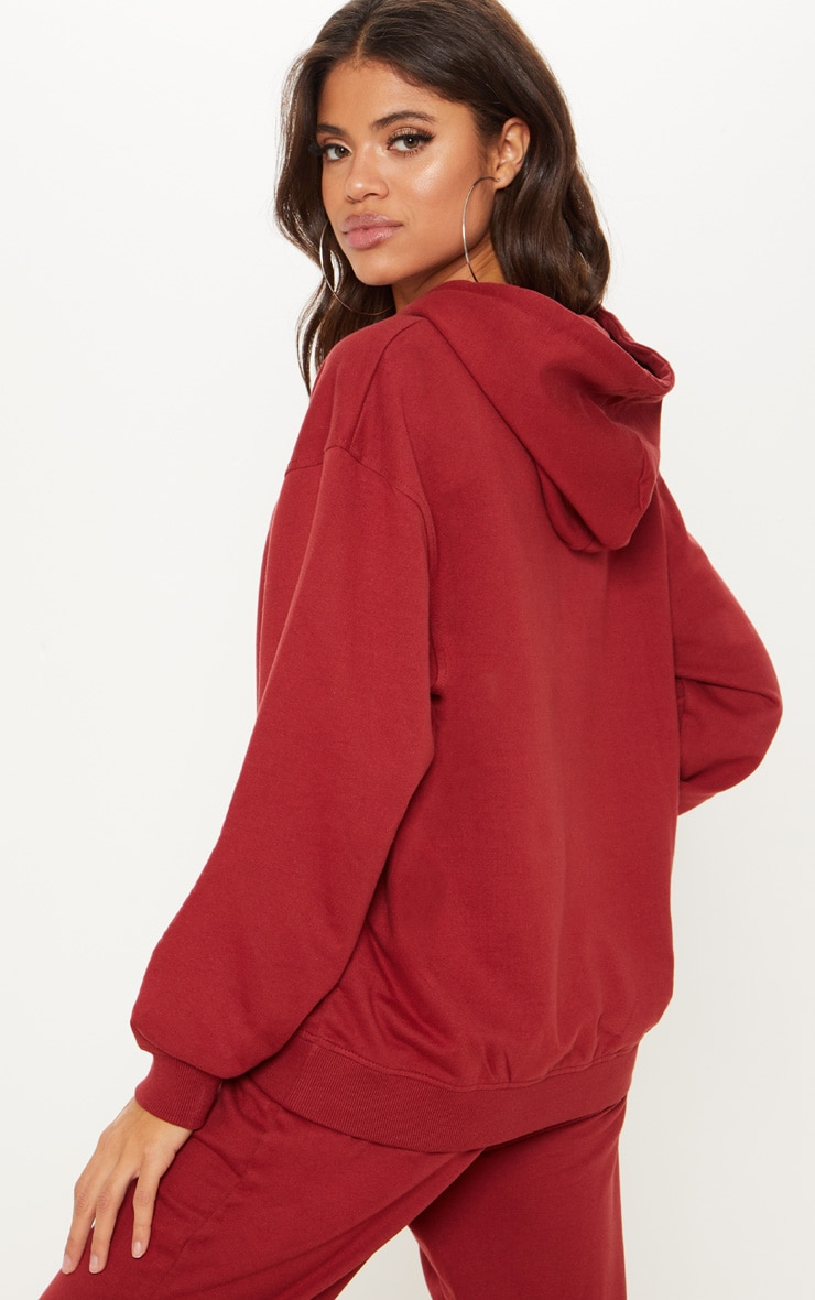 PRETTYLITTLETHING Burgundy Embroidered Oversized Hoodie 2