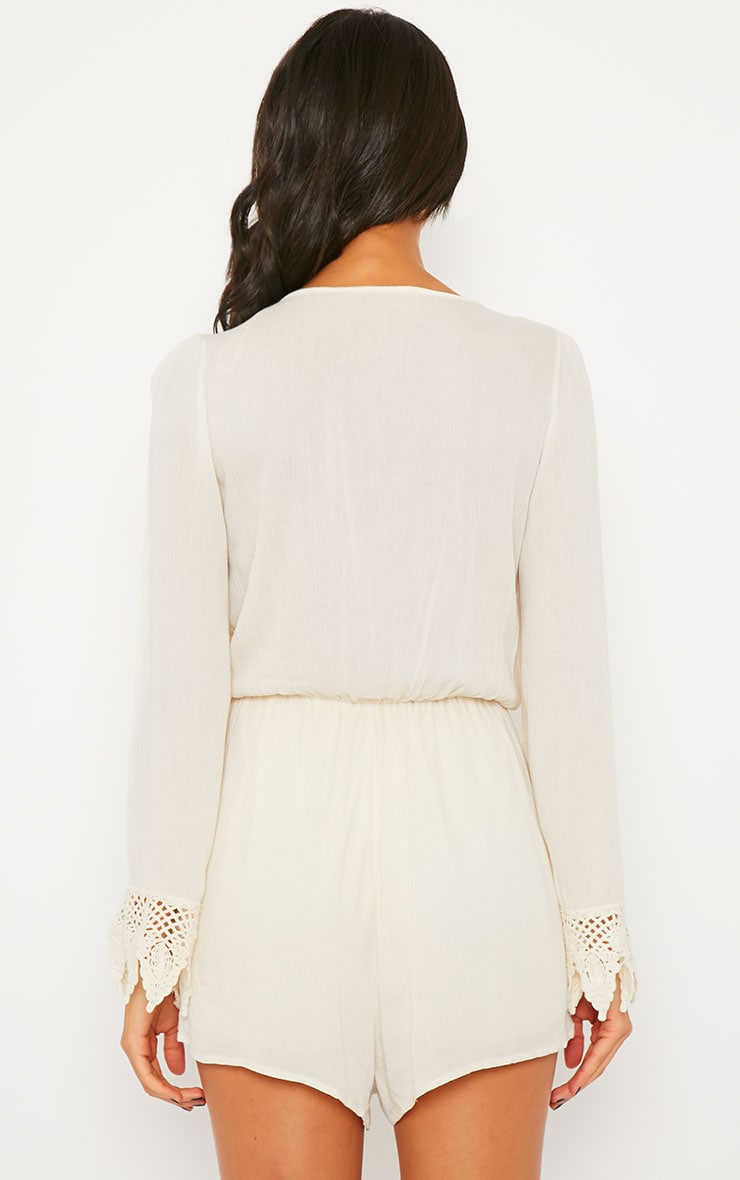 Marketta Cream Wrap Front Embroidered Cuff Playsuit 2