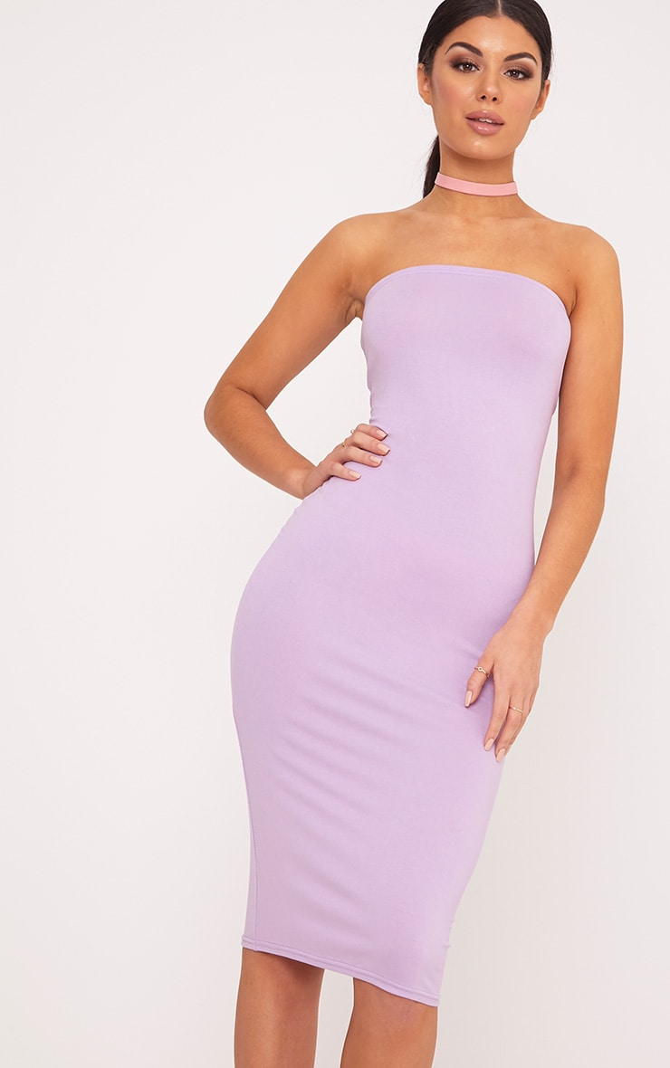 Basic Lilac Jersey Bandeau Midi Dress 1