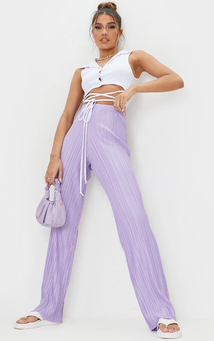 Lilac Plisse Wide Leg Pants