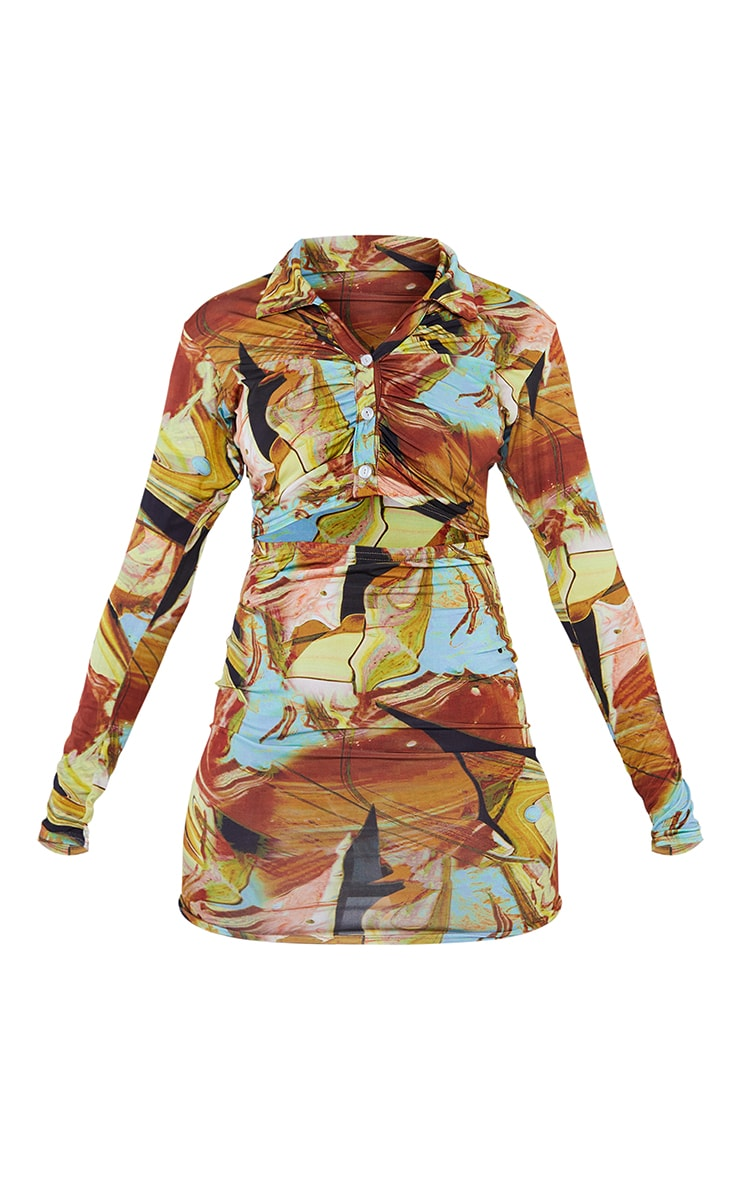 Multi Tie Dye Collared Cut Out Long Sleeve Bodycon Dress 5